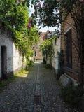 有历史房子的小鹅卵石胡同在梅赫伦 免版税图库摄影