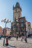 有历史的天文学时钟的老城镇厅 免版税图库摄影