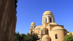 有历史的安排 Agia Triada老教会在克利特海岛 希腊 库存照片