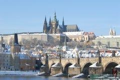 有历史的布拉格冬天 库存照片