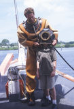 有历史的希腊海绵潜水员 免版税库存照片