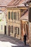 有历史的房子和走的人的街道 图库摄影