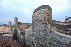 有历史的房子屋顶 免版税库存照片