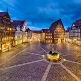 有历史的老市希尔德斯海姆,德国 免版税图库摄影