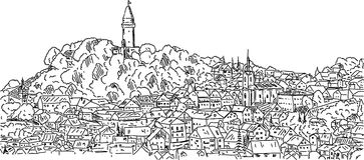 有历史的stramberk城镇 免版税库存照片