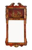有原始的玻璃朱红色的laquer的古色古香的墙壁镜子 免版税库存照片