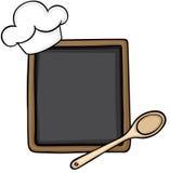 有厨师帽子和木匙子的黑板 皇族释放例证