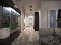 有厨房的室内设计客厅 库存照片