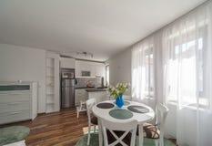有厨房的新的现代客厅 家庭新 内部摄影 木的楼层 库存照片