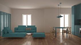 有厨房的现代严谨生活的室和餐桌、沙发、蒲团和躺椅,最小的白色和蓝色室内设计 库存例证