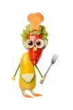有叉子的滑稽的厨师由菜做成 免版税库存图片