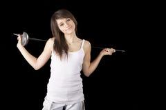 有双刃剑的图象美丽的女孩 库存图片