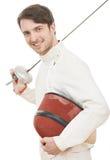 有双刃剑箔的愉快的击剑者 免版税库存图片