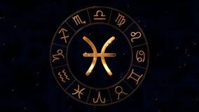 有双子星座孪生的金黄黄道带占星spinnig轮子在中心签字 库存例证