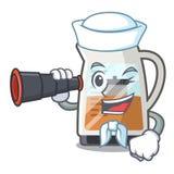 有双眼茶制造商的水手在动画片瓶服务 库存例证