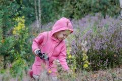 有双筒望远镜的小女孩在手中学习环境的在夏天森林里 库存照片