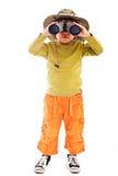 有双筒望远镜的男孩 库存图片