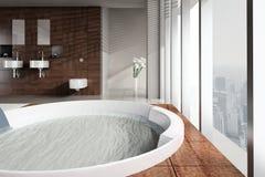有双重水池和极可意浴缸的现代卫生间 库存图片
