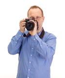 有反光照相机的摄影师 免版税库存照片