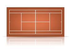 有反射的传染媒介棕色网球场 库存图片