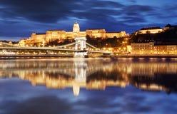 有反射的布达佩斯王宫,匈牙利 库存照片