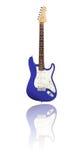 有反射的电吉他,蓝色 库存图片
