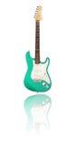 有反射的电吉他,绿色 免版税图库摄影