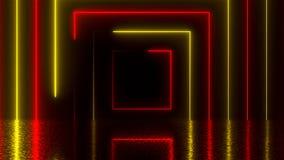 有反射的,计算机生成的背景, 3D抽象方形的霓虹隧道翻译 向量例证