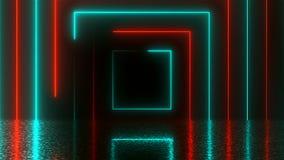有反射的,计算机生成的背景, 3D抽象方形的霓虹隧道翻译 皇族释放例证