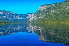 有反射表面上的朱利安阿尔卑斯山的Bohinj湖 库存照片