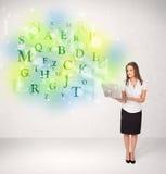 有发光的信件概念的女商人 库存图片