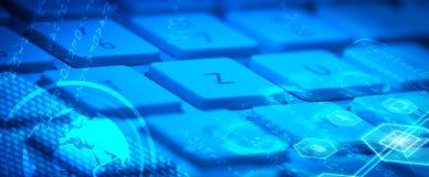 有发光的多媒体象的键盘 免版税库存照片