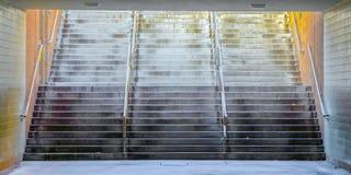 有发光的金属扶手栏杆的宽阶梯步级在大厦下 库存图片