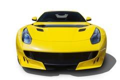 有发光的颜色的黄色汽车 免版税图库摄影