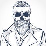 有发型和髭的头骨 库存照片