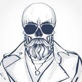 有发型和髭的头骨 免版税库存图片