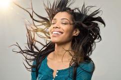 有发型的快乐的妇女 免版税图库摄影