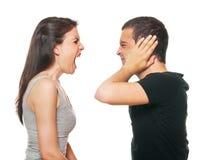有变元的夫妇不快乐的年轻人 免版税库存照片