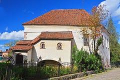 有古老操刀的骑士房子在维堡,俄罗斯 免版税库存照片