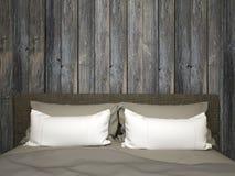 有古色古香的木头的卧室 免版税库存图片