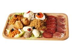 有另外种类的传统塞尔维亚食物板材饭食 苹果酱 库存照片