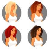 有另外头发颜色的少妇 免版税库存图片