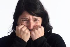 有可怕面孔的妇女 免版税库存图片