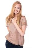 有可爱的微笑的俏丽的妇女 免版税库存照片