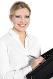 有可爱的微笑的愉快的少妇 免版税库存照片