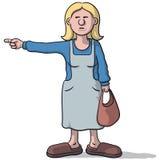 有可疑神色的动画片妇女表明 库存例证