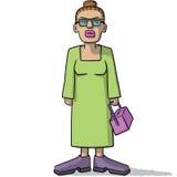 有可疑神色的动画片妇女 库存例证