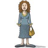 有可疑神色的动画片妇女 向量例证
