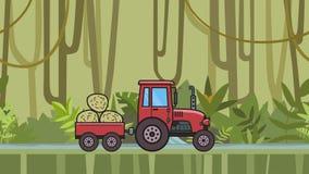 有台车的生气蓬勃的拖拉机有很多干草骑马通过在热带密林和河的雨林移动的农厂车 影视素材