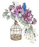 有叶子、鸟和笼子的罗斯 背景查出的白色 免版税库存图片